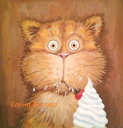 """Картина """"Сметану?! Нее, не видел!..""""))) прикольная, с котом, рыжий ручной работы на заказ"""