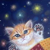 """Картина в детскую """"Мяу-мяу, баю-бай"""" рыжий котенок в спальню синий"""