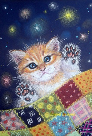 """Картина в детскую """"Мяу-мяу, баю-бай"""" рыжий котенок в спальню синий ручной работы на заказ"""