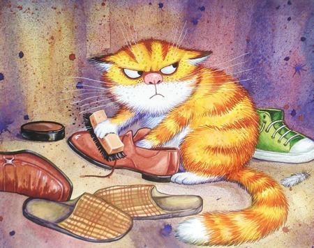 """Картина """"Очищение"""" в подарок смешной рыжий кот сиреневый ручной работы на заказ"""