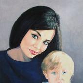 Картина портрет маслом на заказ по фото подарок на юбилей свадьбу люди