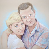 Картина портрет по фото на заказ пастель подарок на годовщину свадьбу
