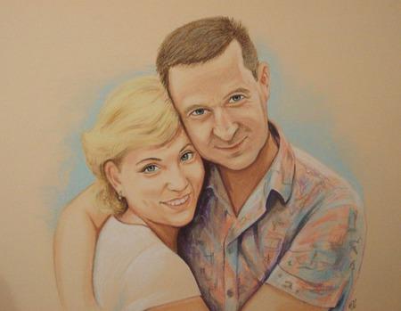 Картина портрет по фото на заказ пастель подарок на годовщину свадьбу ручной работы на заказ