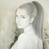 Картина портрет по фото на заказ карандашом,люди,черно-белый серый