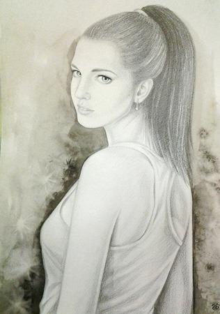 Картина портрет по фото на заказ карандашом,люди,черно-белый серый ручной работы на заказ