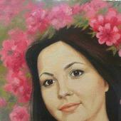 Картина портрет маслом на заказ по фотографии подарок на юбилей