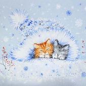 """Картина с котятами """"Уюта и тепла"""" Новый год  зима голубой белый"""