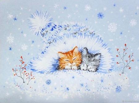 """Картина с котятами """"Уюта и тепла"""" Новый год  зима голубой белый ручной работы на заказ"""