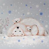 """Картина с белыми мишками """"Уюта и тепла"""" Новый год голубой зима"""