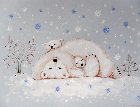 """Картина с белыми мишками """"Уюта и тепла"""" Новый год голубой зима ручной работы на заказ"""
