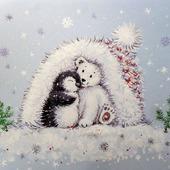 """Картина с белым мишкой """"Уюта и тепла"""" Новый год белый голубой"""