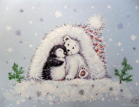 """Картина с белым мишкой """"Уюта и тепла"""" Новый год белый голубой ручной работы на заказ"""