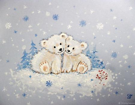 """Картина с медвежатами """"Уюта и тепла""""  Новый год белый голубой зима ручной работы на заказ"""