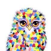 Картина Совушка в детскую радужная разноцветная