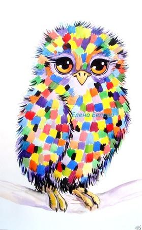 Картина Совушка в детскую радужная разноцветная ручной работы на заказ