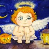 """Картина """"Ангел. Хранитель снов"""" в детскую подарок синий оранжевый"""