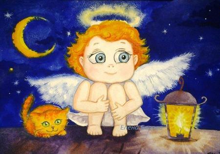"""Картина """"Ангел. Хранитель снов"""" в детскую подарок синий оранжевый ручной работы на заказ"""