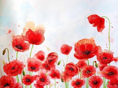 Картина Маки цветы для интерьера гостиной спальни красный белый алый ручной работы на заказ