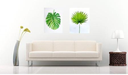 Картина Лист пальмы Монстера для интерьера тропический стиль зеленый ручной работы на заказ