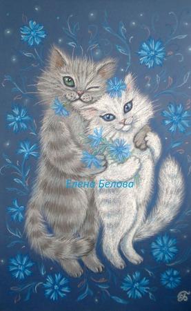 Картина Васильковая любовь с котами в спальню на свадьбу синий белый ручной работы на заказ