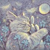 Картина с котом Васильковые сны в спальню детскую  синий желтый