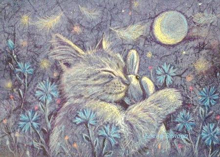 Картина с котом Васильковые сны в спальню детскую  синий желтый ручной работы на заказ