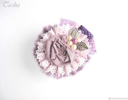 """Брошь сиреневая с жемчугом """"Вереск"""" бохо цветок фиолетовый ручной работы на заказ"""