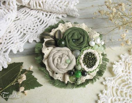 """Брошь бохо цветок """"Базилик"""" зеленый серый ручной работы на заказ"""