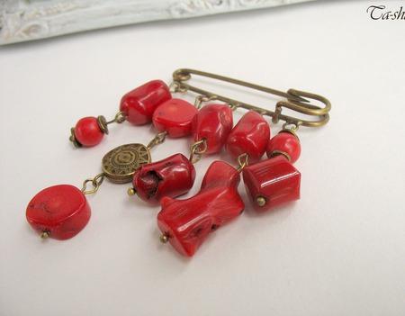 """Брошь булавка красная """"Wild coral"""" коралл этнический стиль ручной работы на заказ"""