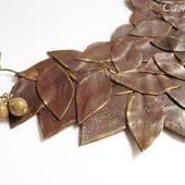 Колье из кожи Тополь коричневое подвеска украшение из кожи