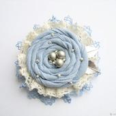 """Брошь """"Голубой цветок"""" бохо украшение"""