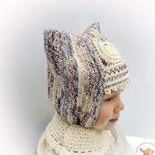 Детская теплая вязаная шапка для девочки Узорная зима