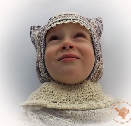 Детская теплая вязаная шапка для девочки Узорная зима ручной работы на заказ