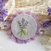 "Брошь с вышивкой ""Lavender""  бохо сиреневая цветок лаванда"