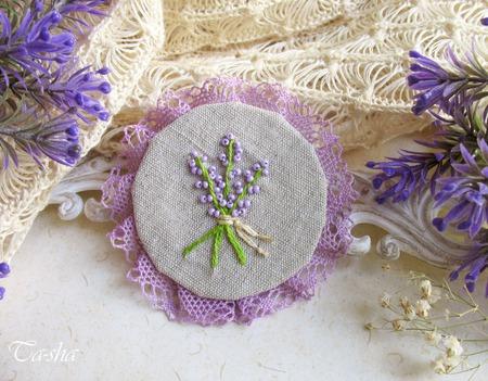 "Брошь с вышивкой ""Lavender""  бохо сиреневая цветок лаванда ручной работы на заказ"