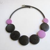 """Колье из дерева """"Abstraction purple"""" бусы чокер черный фиолетовый"""
