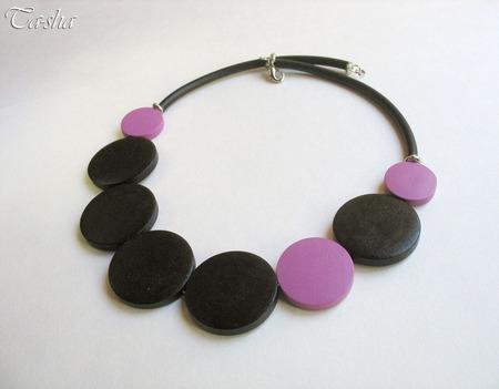"""Колье из дерева """"Abstraction purple"""" бусы чокер черный фиолетовый ручной работы на заказ"""