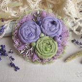 """Брошь бохо цветок """"Сиреневый сад""""  фиолетовый салатовый"""