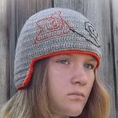 Вязаная двойная шапка-шлем с верблюжьей шерстью Лилия