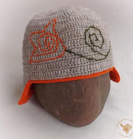 Вязаная двойная шапка-шлем с верблюжьей шерстью Лилия ручной работы на заказ