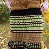 Вязаная шерстяная юбка. Юбка вязаная в полоску. Юбка зелено-черная.Юбка крючок