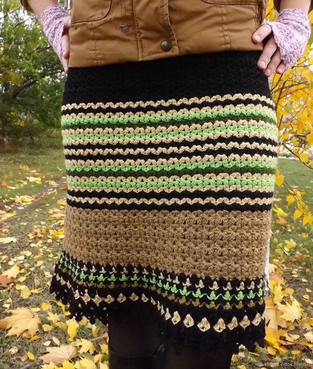 d8218f6c819 Вязаная шерстяная юбка. Юбка вязаная в полоску. Юбка зелено-черная.Юбка  крючок
