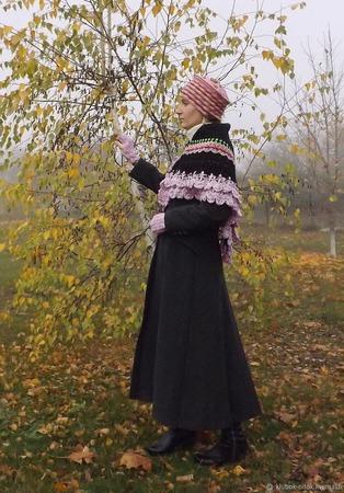 Вязаный теплый комплект из мериносовой пряжи: вязаная шаль, шапка-кокошник, вязаные митенки ручной работы на заказ