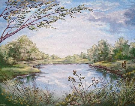 """Картина """"Старый пруд"""" ручной работы на заказ"""