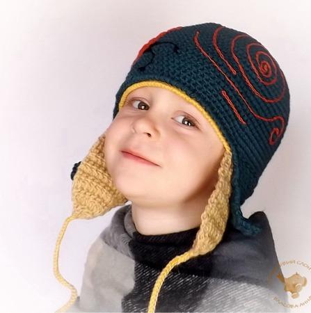 Вязаная детская шапка для мальчика, двойная шапка-шлем для мальчика Конек-горбунок ручной работы на заказ
