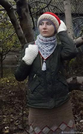Вязаная теплая шапка, митенки, бактус. Козий пух, альпака, меринос ручной работы на заказ