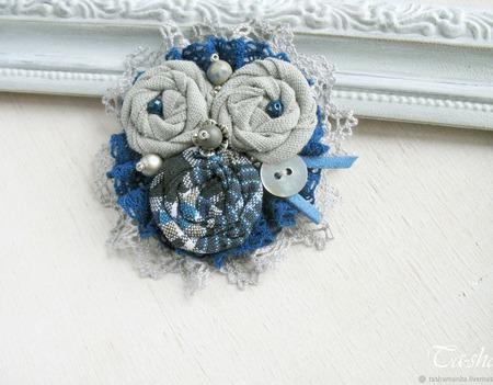 """Брошь синяя бохо """"Прохладное утро"""" украшение из ткани ручной работы на заказ"""