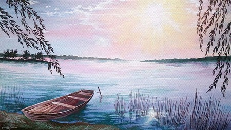 "Картина ""Лодка"" ручной работы на заказ"