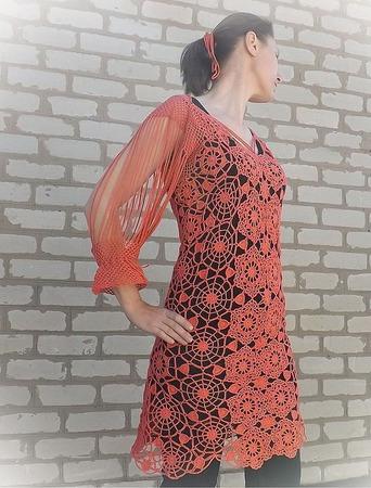 Вязаное пляжное платье Кружевные фантазии - русский стиль ручной работы на заказ