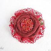 """Брошь цветок """"Dame de Coeur"""" бохо украшение бордовый красный"""